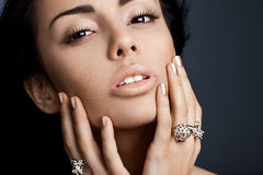 Woman with jewellery Stock Photography