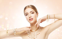 Woman Jewelry, Beauty Fashion Model Jewellery, Elegant Girl Makeup Stock Photo