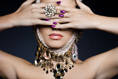 Woman with jewelry. Elegant fashionable woman with jewelry stock photo