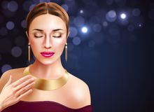 Woman And Jewelry Illustration. Woman and jewelry accessories with golden earrings and necklace realistic vector illustration stock illustration