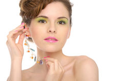 Woman with jewelry from natural stones Stock Images