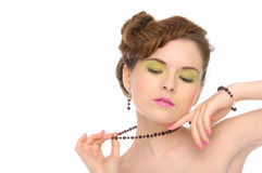 Woman with jewelry from natural stones Royalty Free Stock Images