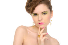 Woman with jewelry from natural stones Royalty Free Stock Image
