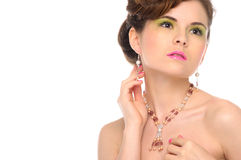 Woman with jewelry from natural stones Royalty Free Stock Photos