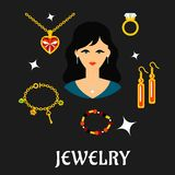 Woman with jewels and gold in flat style. Jewelry concept in flat style with pretty brunette woman surrounded fashion gold with gemstones, precious accessories vector illustration