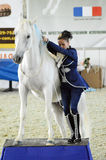Woman jockey in a blue suit with a white horse. International Horse Exhibition Stock Images
