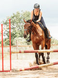 Woman jockey training riding horse. Sport activity Stock Images