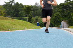 Woman Jogging. Lower body view of a woman jogging on the jogging track in a park stock photography