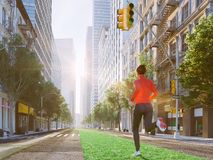 Woman jogging alone in the streets of city on a green lawn arrow. 3d rendering Stock Photography