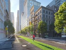 Woman jogging alone in the streets of city on a green lawn arrow. 3d rendering Stock Photos