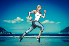 Woman jogging on beach vector Royalty Free Stock Image
