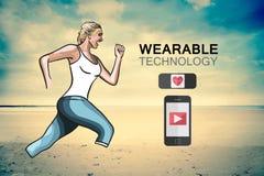 Woman jogging on beach vector Royalty Free Stock Photos