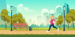 Woman jogging in city park cartoon vector royalty free stock photo