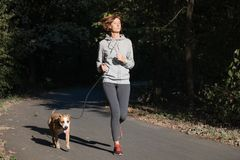 Woman jogging with dog in a park. Young female person with pet d. Oing running excercise in the forest stock photography