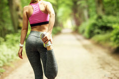Woman jogging in the forest stock photography