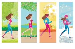 Woman jogging, four seasons Stock Photos
