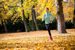 Woman jogging in nature Royalty Free Stock Photo
