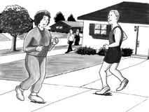 Woman jogging near man urban neighborhood. Sweaty woman jogs past handsome man jogging in family neighborhood happy with effort Stock Illustration