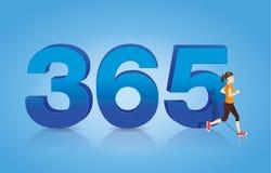 Woman jogging through the number 365. Stock Photos