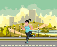 Woman jogging in the park against the backdrop of the city. Vector flat illustration Royalty Free Stock Images