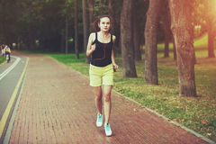 Woman jogging at park royalty free stock photos