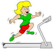 Woman jogging on a treadmill. Vector illustration of a woman jogging on a treadmill Stock Photos