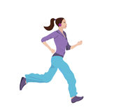 Woman Jogging. Vector illustration of a young woman jogging Royalty Free Stock Images