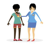 Woman journalist interviews a african female athlete. Girl winner. Character vector flat  illustration people. Royalty Free Stock Photo