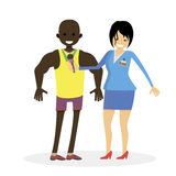 Woman journalist interviews a african male athlete. Man winner. Character vector flat  illustration people. Royalty Free Stock Images