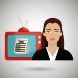 Woman journalist news tv Stock Photo