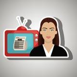 Woman journalist news tv Stock Photography