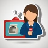 Woman journalist news tv Stock Image