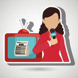 Woman journalist news tv Royalty Free Stock Image