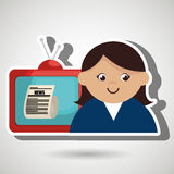 Woman journalist news tv Royalty Free Stock Images