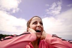 Woman in joy. A beautiful asian woman happy in joy Stock Photos