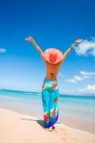 Woman joy beach Royalty Free Stock Image