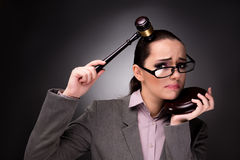The woman judge with gavel in justice concept. Woman judge with gavel in justice concept Royalty Free Stock Image
