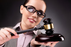 The woman judge with gavel in justice concept Royalty Free Stock Images