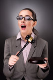 The woman judge with gavel in justice concept. Woman judge with gavel in justice concept Stock Image