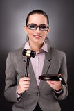 The woman judge with gavel in justice concept. Woman judge with gavel in justice concept Stock Photos