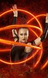 Woman juggler carries out show with hoops. Elegance woman juggler carries out show with hoops Stock Image