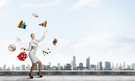 Woman juggler Stock Photos