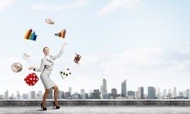 Woman juggler Stock Photos