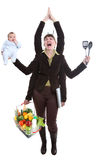 Woman juggling fruit. Modern woman having to deal with business and her personal life royalty free stock photography