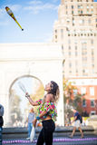 Woman Juggling with Pins, in the Middle of Greenwich Park in New Stock Photography
