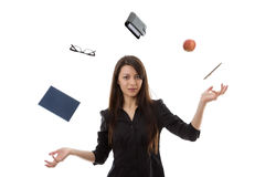Woman juggling stock image