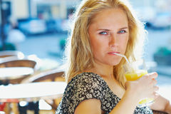 Woman with juice royalty free stock photo