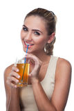 Woman with juice royalty free stock photography