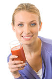 Woman with juice, isolated Royalty Free Stock Photos
