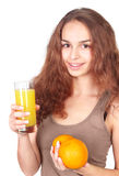 Woman with juice and oranges Royalty Free Stock Photos